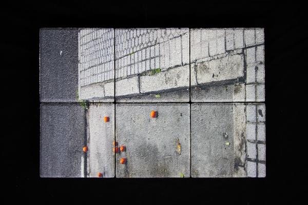 Druck auf Fussmatte grau